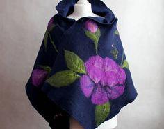 felted scarf, nuno felted scarf, felted flower scarf, felted shawl, felted art scarf, OOAK Nuno Felt Scarf, Nuno Felting, Handmade, Etsy, Hand Made, Handarbeit