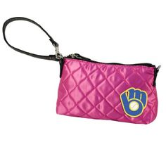 MLB Quilted Wristlet - Milwaukee Brewers, Pink  http://allstarsportsfan.com/product/mlb-quilted-wristlet/?attribute_pa_teamname=milwaukee-brewers&attribute_pa_color=pink  Shell: 80% Polyester, 20% PVC.  Lining:  100% Polyester Features Embroidered Applique with Officially Licensed Team Logo Hand Wash, Line Dry, Do Not Iron Design