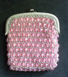 BAG - delicious handbag studded with faceted balls, handwork in weaving the thread silver within each ball, color antique pink