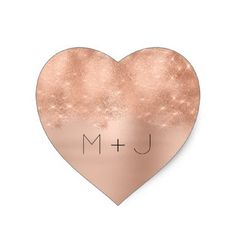 Pink Rose Gold Blush Wedding Monogram Heart Heart Sticker - rose style gifts diy customize special roses flowers