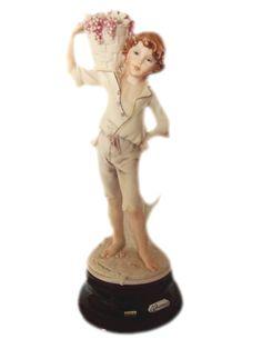 1982 G Armani Country Boy w/ Grape Basket Capodimonte Figurine Italian Porcelain Collectible Signed Near Mint via Etsy