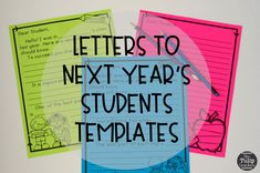 End of the year activities for writing letters to next year's students and class! Love these templates for students to easily use! Great activity for the end of the school year!