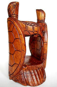 Handmade Carved Wooden Wine Bottle Holder / Stand ~ Two Turtles 25 Cm