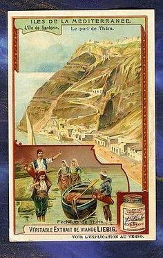 Chromo Liebig S934 Mediterranée Santorin Port Théra Grèce Greece Old Trade Card
