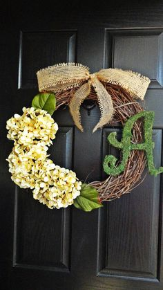 Antique White Hydrangea Welcome Wreath With Moss Monogram and Perfect Bow