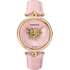 Versace Palazzo Medusa Watch ($1,675) ❤ liked on Polyvore featuring jewelry, watches, versace watches, versace jewelry, dial watches, versace jewellery and pink watches
