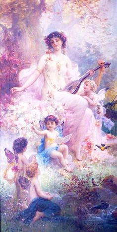 beauty playing guitar and floral angels Hans Zatzka classical flowers art for sale at Toperfect gallery. Buy the beauty playing guitar and floral angels Hans Zatzka classical flowers oil painting in Factory Price. Images D'art, Female Images, Vintage Illustration, Renaissance Kunst, I Believe In Angels, Oil Painting Reproductions, Classical Art, Angel Art, Beautiful Paintings