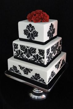 Black and White Damask Wedding Cake with Red Gumpaste Roses