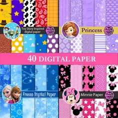 "Frozen Sofia Minnie ToyStory Digital papers SALE  ""Frozen Princess Minnie Patterns"" Inspired by Disney's movies  Instant Download Gazozdesign 20.00 ILS"