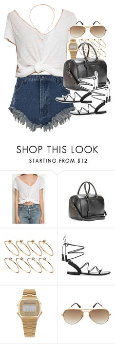 """""""Outfit for summer with gladiator sandals"""" by ferned ❤ liked on Polyvore featuring Yves Saint Laurent, ASOS, Anine Bing, American Apparel, Ray-Ban and Topshop"""