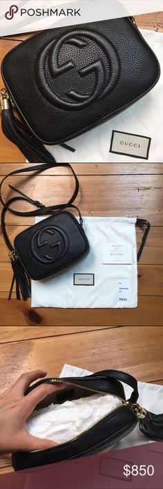 Authentic Gucci Soho Disco Bag This is a brand new genuine Gucci purse. Never been used. Comes with dust bag. Remember with tax this purse was $1,058 so it is nice that Posh doesn't tax! Price is negotiable. No low ballers please. Gucci Bags Crossbody Bags