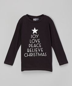 Another great find on #zulily! Black & White 'Joy Love Peace' Tree Tee - Infant, Toddler & Girls #zulilyfinds