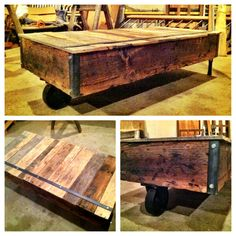 Vintage Timber Cart Coffee Table  Follow us @ http://www.facebook.com/TheBirchBennettCo