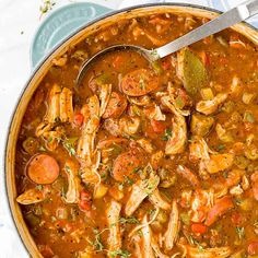 Get a taste of New Orleans cuisine at home with this savory and delicious chicken andouille sausage gumbo! Smoky sausage, okra, and aromatic vegetables make this an authentic recipe perfect for sharing. #gumbo #video #neworleans #stew