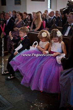 Flower Girl Dress of The Year Runner Up  in Flamingo and Regal (Purple)  Tulle and Silk Pegeen Style 356