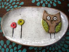 Whimsical Owl Soap Dish or Spoon rest by ShoeHouseStudio on Etsy, $15.00