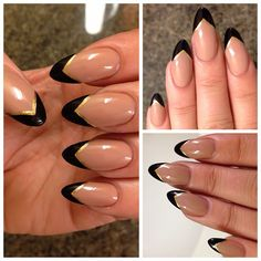 Instead of black do a dark red with the gold trim and then do one tip a dark green as the accent nail for the Christmas holiday!