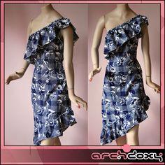 Vintage 1950s One Shoulder Novelty Printed Cotton Asymmetric Frilled Dress #vintage #swing  http://www.ebay.co.uk/itm/Vintage-1950s-One-Shoulder-Novelty-Printed-Cotton-Asymmetric-Frilled-Dress-UK10-/281995949302?ssPageName=STRK:MESE:IT