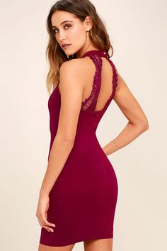 0afbfb695d1 Lulus - Lulus Endlessly Alluring Wine Red Lace Bodycon Dress - AdoreWe.com  Red Lace