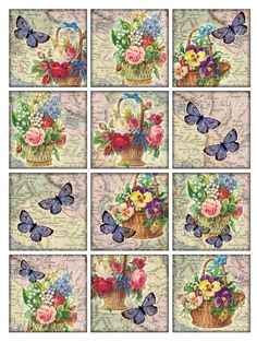 Vintage Printable Tags Digital Collage Sheet flowers and butterflies 2.5 inch large square images card background Download and Print