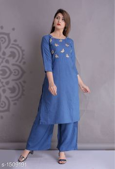Dupatta Sets Women Rayon A-line Solid Long Kurti With Palazzos Fabric: Kurti - South Rayon Palazzo - South Rayon Sleeves: Sleeves Are Included Size: Kurti (Bust): M - 38 in L - 40 in XL - 42 in XXL - 44 in  Palazzo (Waist): M - 34 in L - 36 in XL - 38 in XXL - 40 in Length: Kurti - Up To 45 in Palazzo - Up To 39 in Type: Stitched Description: It Has 1 Piece Of Kurti And 1 Piece Of Palazzo Work/ Pattern: Kurti - Embroidered Palazzo - Solid Country of Origin: India Sizes Available: S, M, L, XL, XXL, XXXL   Catalog Rating: ★4 (457)  Catalog Name: Women Rayon A-line Solid Long Kurti With Palazzos CatalogID_194070 C74-SC1853 Code: 364-1509191-
