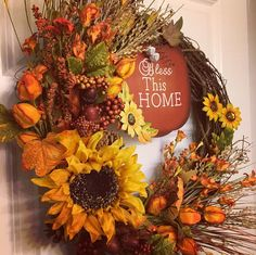 $58.00 - Columbus Ohio New inventory! Rustic Autumn 'Bless This Home' wreath. Locate my shop on Etsy at HomeByTheHolidays OR click the link in my profile! More wreaths are coming soon! wreaths fallwreaths #homebytheholidays front door decor grapevine grapevine wreaths fall autumn home homedecor sunflowers floral seasonal seasonaldecor thanksgiving