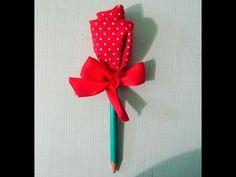 Lápis decorado com rosa de tecido (retalho) - YouTube