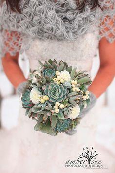 Hochzeits Strauß aus Sukkulenten -