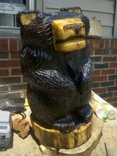 $225 Chainsaw Bear Carving by Tim Stone