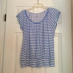 New York & Company Top Cap Sleeve. White & Blue Striped shirt. Scoop neck. Worn once. New York & Company Tops Tees - Short Sleeve