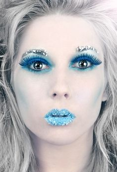 fashion, make-up, costume make-up, costumes, ice queen, snowflakes, winter, snow, white, blue