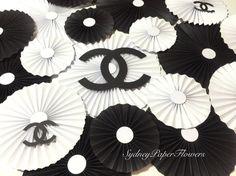 CHANEL party backdrop /rossetes set/ Pinwheels / Paper fans/ Backdrop/ Wedding décor/ Sweet table decoration/ Nursery/ Set of 20