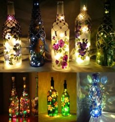You can easily transform ordinary bottles into elegant lamps by decorating them with beautiful garlands.