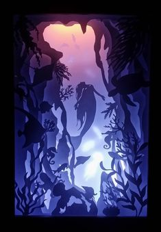 Underwater - Paper Cutting Light Box Template files - DIY and Crafts 2019 Shadow Box Kunst, Shadow Box Art, Shadow Box Frames, 3d Paper Art, Diy Paper, Paper Crafts, Diy Crafts, Foam Crafts, Decor Crafts