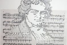 artist Erica Iris Simmons hacks sheet music to create these whimsical musical portraits.