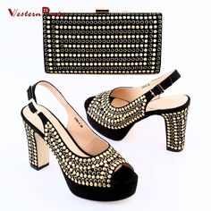 Newest Unique Design Sweden Black Shoes and Bag Set for Party High Heels Shoes Pumps