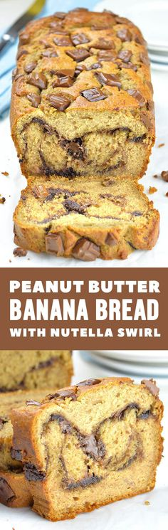 Peanut Butter Banana Bread with Nutella swirl a is the best and the yummiest snack or breakfast recipe you could make ahead for busy mornings.