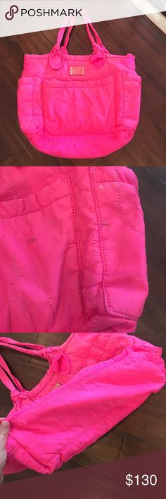 Marc Jacobs hot pink diaper bag Marc Jacobs hot pink diaper bag. Used condition. Still sooooo fabulous some signs of wear shown in pics Marc Jacobs Bags Baby Bags