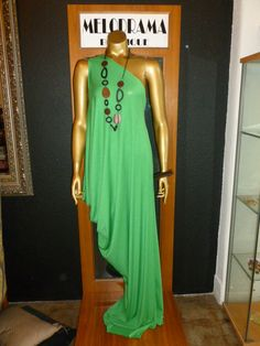 One shoulder draped dress! Also available in yellow!