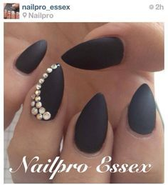 Black Stiletto Nails With Rhinestones
