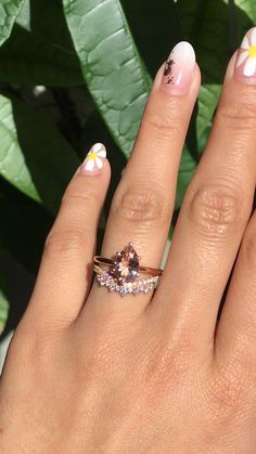 Pear morganite solitaire ring rose gold with crown diamond wedding band by La More Design Jewelry - Wedding Tribe: Fashion and Jewelry - Jewelry Rose Gold Engagement Ring, Diamond Wedding Rings, Diamond Bands, Diamond Jewelry, Gold Jewelry, Solitaire Diamond, Solitaire Rings, Gold Bracelets, Gold Wedding Bands