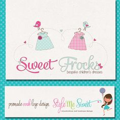 Logo Design Premade Hand Drawn OOAK Clothing by stylemesweetdesign, $155.00
