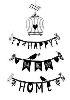 Hippe zwart/witte letterslinger verhuiskaart met de tekst 'a happy new home', met een vogelhuisje en vogeltjes. Ook te gebruiken als felicitatie kaart