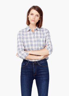 Latest trends in women's fashion. Discover our designs: dresses, tops, jeans, shoes, bags and accessories. Mango Presents, Checker Print, Elegant, Latest Fashion Trends, Cotton Fabric, Long Sleeve, Tops, Womens Fashion, How To Wear