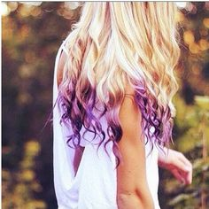 Purple Dyed hair tips you can do this with kool aid packets;)
