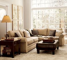 Pearce Sectional | Pottery Barn Also Like The Ottoman And Color Contrast