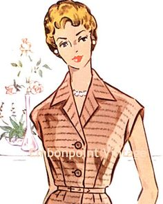 Plus Size (or any size) Vintage 1950s Womens Workwear Dress Pattern - PDF - Pattern No 82: Lori. $10.20, via Etsy.