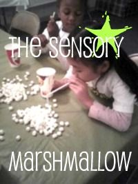 Sensory calming/regulating activity: Open up a bag of mini-marshmallows, scatter on a table. Give every kid a cup and a straw. Race to suck up the most marshmallows and place them in a cup. No hands allowed!  Also works on sustained respiration and oral motor strength.  Visit pinterest.com/arktherapeutic for more #oralmotor #sensory and #feeding ideas