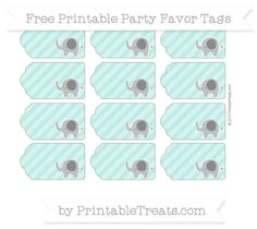 Tiffany Blue Diagonal Striped  Elephant Party Favor Tags