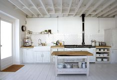 white rustic kitchen - ikea floor 10.,92sqm barefootstyling.com